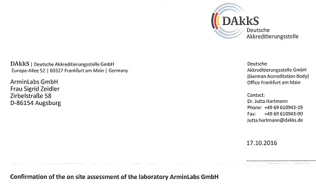 ArminLabs was inspected TEST and got recommended for DAkkS accreditation